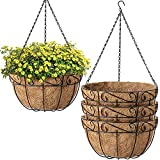 Amagabeli 4 Pack Hanging Baskets for Plants Planter Metal Outdoor 12 Inch with Coco Coir Liner Round Wire Plant Holder Chain Porch Decor Flower Pots Hanger Garden Decoration Iron Indoor Black