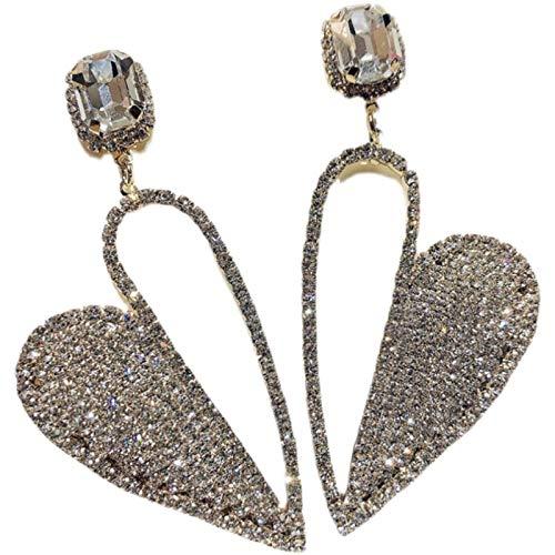 Ikpdbw Senior Sweet Net Red Quality Diamond 925 Silver Eclipse Love Tao Heart Pendientes Pendientes de atmósfera exagerados