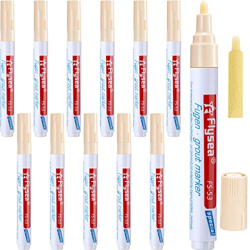 12 Stück Fugenmörtel Fliesen Stift Fugenmörtel Restaurierung Stift Erneuern Reparatur Markierung für Fliesen Wand Boden (Beige)