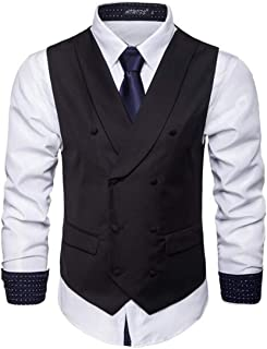 MU2M Men Basic Double-Breasted Casual Pure Color Skinny Dress Vest Waistcoat