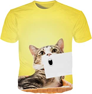 Animal T Shirts Men 3D Cat Blank Paper Hand Drawn Expression Men Cute Cat T Shirts