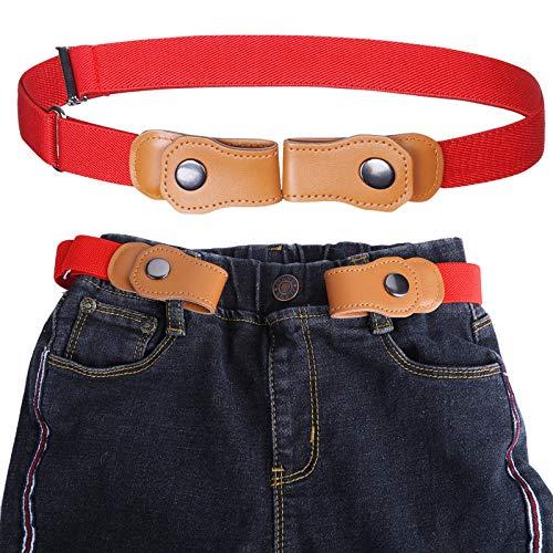 Kajeer Jungen Ohne Schnalle Elastisch Gürtel - Einstellbar Ohne Schnalle Unsichtbarer Gürtel Passt 50-81 cm Unsichtbare Stretchgürtel für 2-15 jährige Kinder Jeans (Rot)