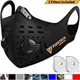 FIGHTECH Dust Mask | Mouth Mask Respirator with 2 Carbon Filters for Pollution Pollen Allergy Woodworking Mowing Running | Washable and Reusable Neoprene Half Face Mask (Large, Black)