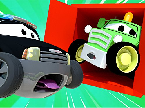 Der Traktor und Streifenwagen Feuerwehrauto und Polizeiauto