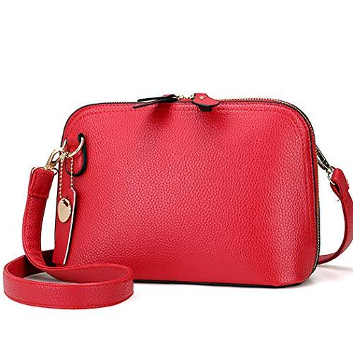Fanspack PU Leather Crossbody Bags for Women Simple Casual Satchel Bag Shoulder Bag for Girls