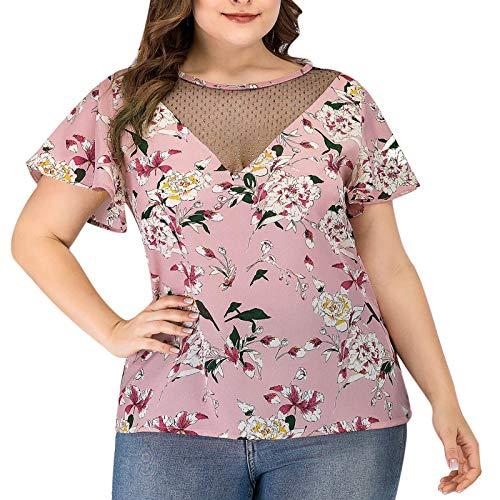 BUDAA V-cuello de manga corta camiseta Tops de las mujeres más el tamaño de impresión de encaje patchwork hueco camiseta verano blusa