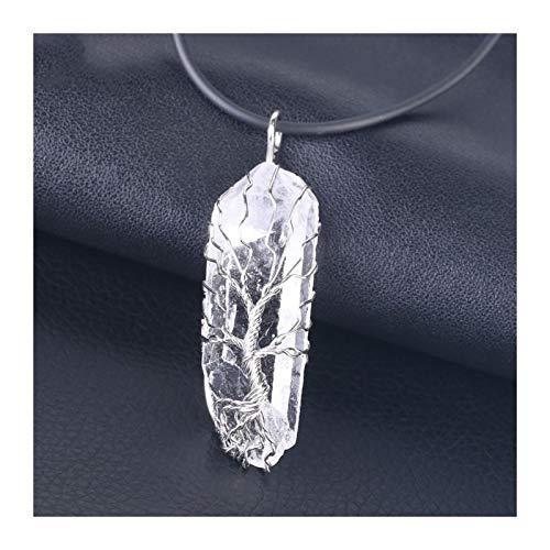 ZAOPP Natürliche Kristall Säule Große Anhänger Antike Kupferdraht Wickelte Baum des Lebens Quarz Anhänger Halskette Zubehör (Metal Color : Silver Necklace)