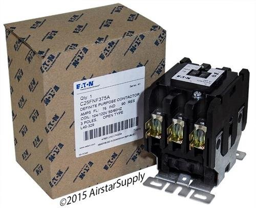 Replacement for Square D 8910DPA73V02 - Replaced by Eaton/Cutler Hammer C25FNF375A Contactor, 3-Pole, 75 Amp, 120 VAC Coil Voltage