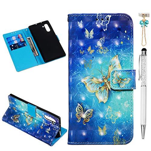 Vogu'SaNa Funda para teléfono móvil Samsung Galaxy Note10, funda de piel sintética con diseño 3D de mariposa, funda protectora para teléfono móvil