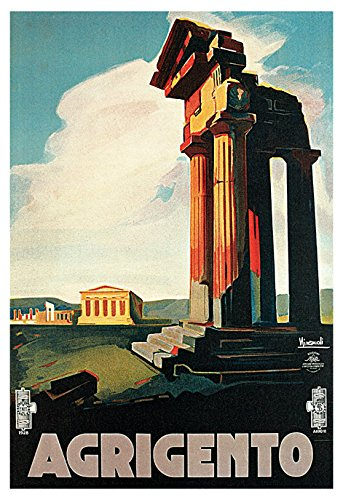 Agrigento Poster, Sicily, Italy, Vintage Italian Travel Poster