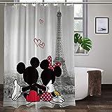 Mickey Minnie Duschvorhang Cartoon Film Eiffelturm Lover Bad Duschvorhänge strapazierfähig für Männer Frauen