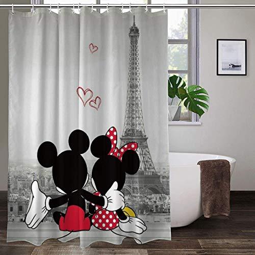 Mickey Minnie Shower Curtain Cartoon Movie Eiffel Tower Lover Bath Shower Curtains Heavy Duty for Men Women
