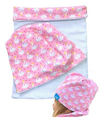 HECKBO® Kinder Mädchen Beanie Mütze + Loop-Schal Set | Wendemütze Schwan Swan Herzen Motiv | One Size: 2 bis 7 Jahren | 95% Baumwolle | weiches & pflegeleichtes Stretch-Material | für jede Jahreszeit