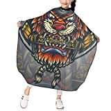 Kids Haircut Apron, Professional Salon Polyester Cape, Ronin Tiger Samurai Warrior Barber Hairdressing Cape, Waterproof Adjustable Snap for Hair Cutting Hairstylists for Boys Girls