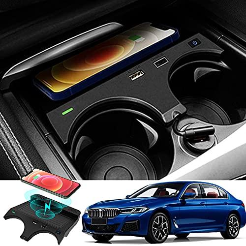 ElecPjf Accesorios Inalámbricos para BMW 5 Series M5 2017 2018 2019 2020 2021 BMW 6 Series M6 2018 2019, 10W Carga Rápida Teléfono Cargador Pad para iPhone 13/12/11/Samsung S20/S10/S9