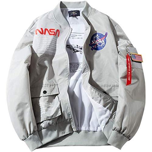 LLGHT Chaqueta de Bombardero para Hombre, Bombardero Ligero MA-1 de Vuelo de la Bandera de los EE. UU. De la NASA para Hombre Chaqueta de Beisbol con Cremallera Completa