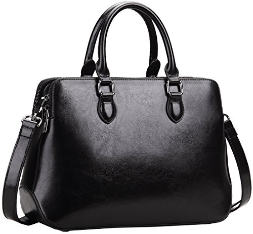 Heshe Leather Womens Handbags Totes Top Handle Shoulder Bag Satchel Ladies Purses (Black-R)