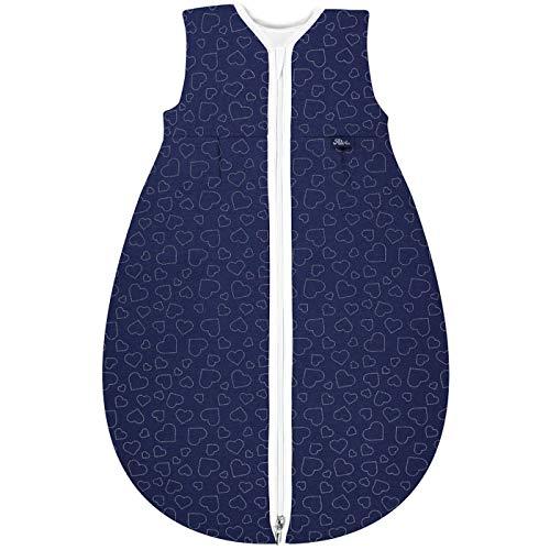Alvi Mäxchen Thermo Schlafsack ohne Arm Design Hearts Navy (Größe 70)