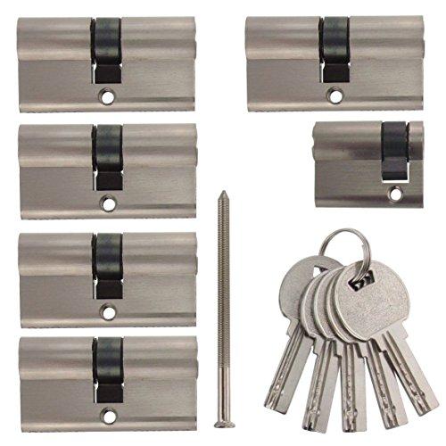 Set8 6x Zylinderschloss gleichschließend: 5x 60mm 30/30 Doppelzylinder, 1x 40mm 30/10 Halbzylinder inkl.10 Schlüssel