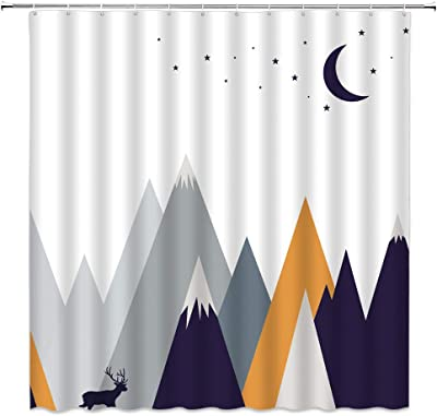 AMHNF Mountain Shower Curtain Abstract Elk Deer Roaming Below Mountain Moon Star Outdoor for Kids Home Bathroom Decor Quick Dry Fabric with 12 Hooks,70x70 Inch,White Gray Navy