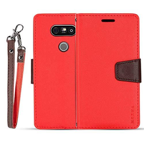 JEEXIA® Schutzhülle Für LG G5 / LG G5 SE, Retro PU Lederhülle Flip Cover Brieftasche Innenschlitzen Mit Stand Doppelte Farbe Ledertasche - Rot