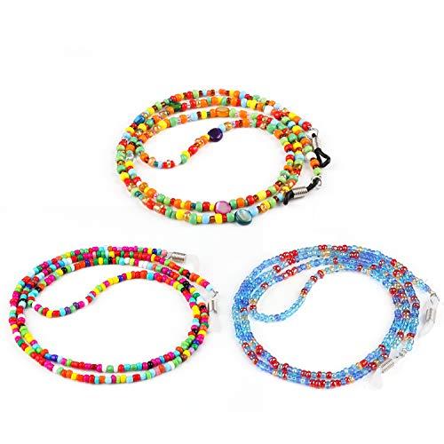 Hifot Perlen Brillenband 3 Stück, kette für Lesebrille & Sonnenbrille Strap, Brillenschnur Brillenkette Brillenkordel damen