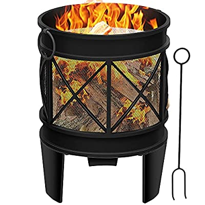 Amagabeli Outdoor Fire Pit 23Inch Portable Fire Bowl Black Bowl with Spark Screen and Poker Extra Large Deep Rustproof Fire Brazier Wood Burning Fire Basket Fire Bowl by Amagabeli Garden Home
