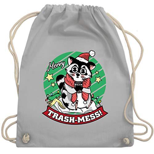 Shirtracer Weihnachten Kind - Merry Trash-Mess - Unisize - Hellgrau - Spruch - WM110 - Turnbeutel und Stoffbeutel aus Baumwolle