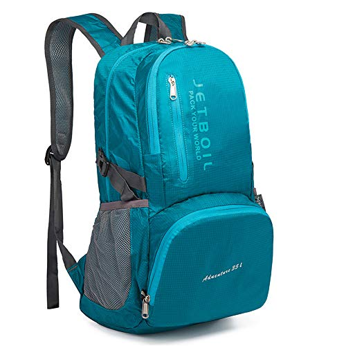 35L Ultra Lightweight Hiking Backpack, Chickwin Foldable Multi-functional Casual Rucksack Travel Daypack Bag for Men Women Outdoor Sport Camping Mountaineering Walking Climbing (48*19*32cm,Lake blue)