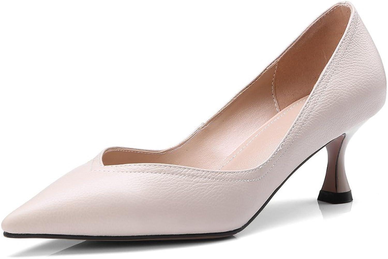 Nine Seven Genuine Leather Women's Pointed Toe Cone Heel V Cut Slip On Handmade Pump shoes