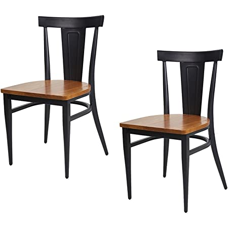 Amazon Com Dporticus Dining Chairs W Wood Seat And Metal Legs Kitchen Side Chairs Residential Or Commercial Use Set Of 2 Black Furniture Decor