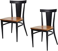 Dporticus Dining Chairs W/Wood Seat and Metal Legs Kitchen Side Chairs Residential or Commercial Use - Set of 2 Black