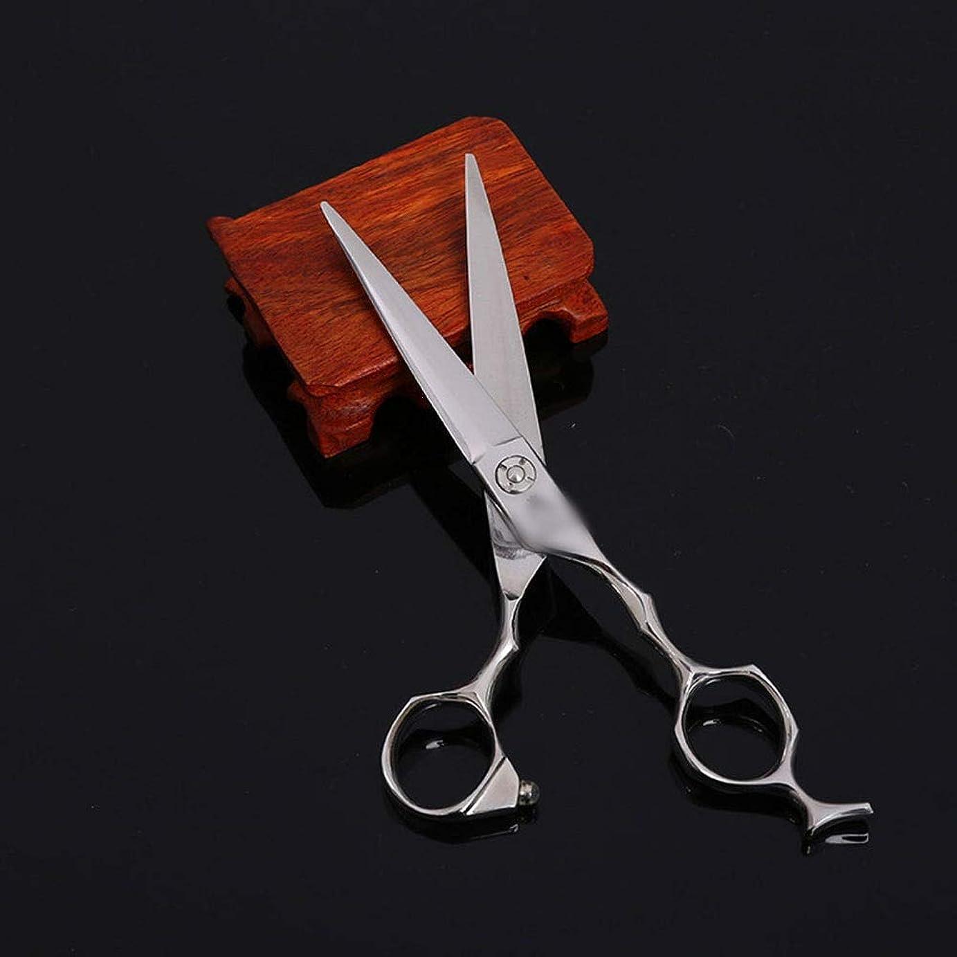円形トピック行商人方朝日スポーツ用品店 6インチの理髪師特別なハイエンドのプロの理髪ツールフラットはさみ (色 : Silver)