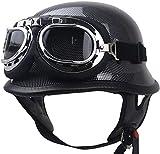 EBAYIN Cascos Half-Helmet Cascos Abiertos Brain - Cap Retro Harley Motocicleta Medio Abierto Casco ECE Cruiser Chopper Piloto Piloto Casco con Gafas Gorra Colisión Seguridad,B-XXXL=(65~66cm)