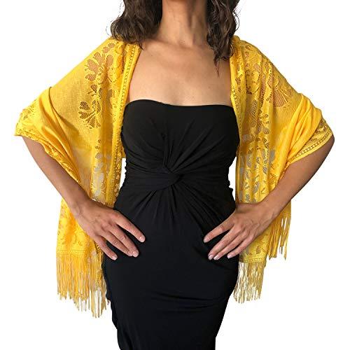 Pashmina amarilla elegante para noche