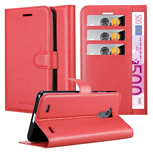 Cadorabo Hülle für ZTE Blade V7 LITE - Hülle in Karmin ROT – Handyhülle mit Kartenfach & Standfunktion - Hülle Cover Schutzhülle Etui Tasche Book Klapp Style