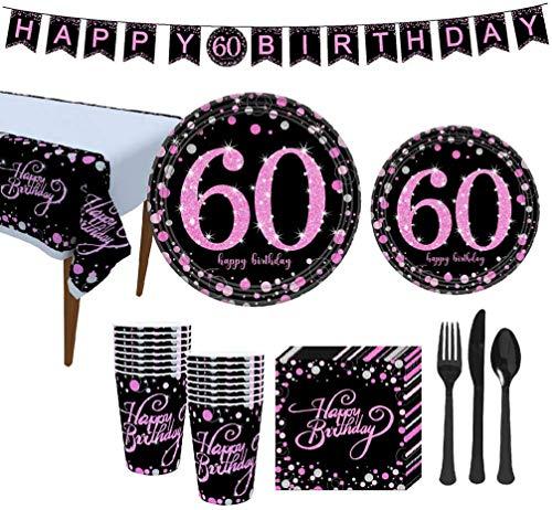 SH-RuiDu Juego de vajilla para fiestas de 50 cumpleaños, platos, vasos, servilletas, mantel, tenedor y cuchillo, sirve 16