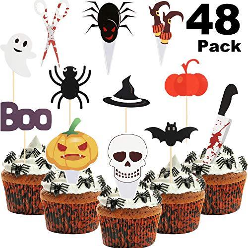 48 Stücke Halloween Cupcake Toppers Spinnen Kürbis Geist Lebensmittel Picks Halloween Cupcake Picks für Halloween Party Gefallen Baby Party Geburtstag Dekoration