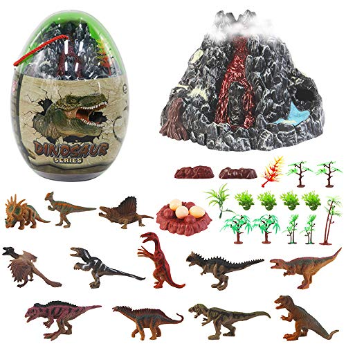 deAO Huevo Gigante con Figuras de Dinosaurios, Volcán con Función de Erupción y Accesorios Conjunto en Estuche Portátil Incluye 30 Piezas