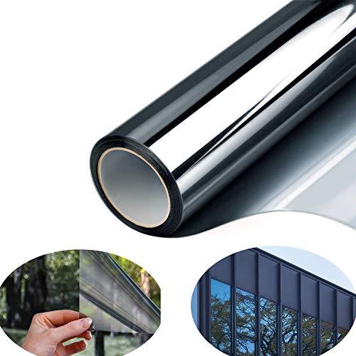 Fitlife Spiegelfolie Sonnenschutzfolie Innen Fensterfolie Selbsthaftend Wärmeisolierung 99% UV-Schutz Einwegspiegelfolie reflektiert Starkes Sonnenlicht Sichtschutz Glas-Tönung Aufkleber (90*200 cm)