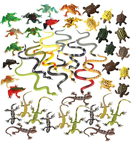 48 Piece Frogs, Turtles, Snakes and Lizards Toy Animal Figures Bundle