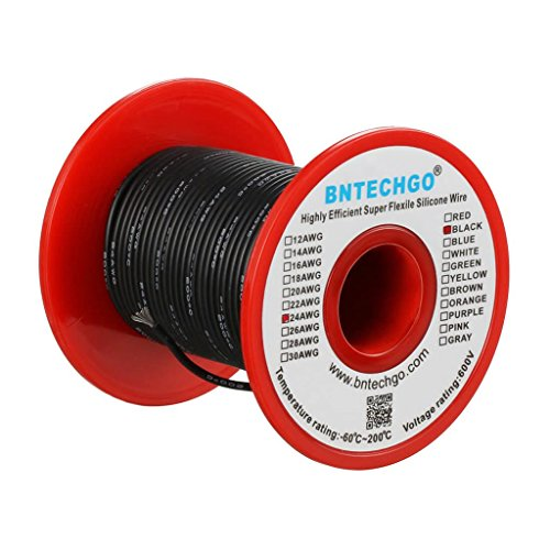 BNTECHGO 24 Gauge Silicone wire spool 100 ft Black Flexible 24 AWG Stranded Tinned Copper Wire