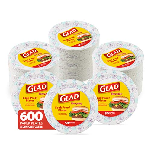 """Glad Round Disposable Paper Plates, 10 Inch Paper Plates-New & Improved Quality Disposable Plates-Microwave Safe Heavy Duty Paper Plates 10"""" -600 Count Bulk Paper Plates-Paper Plates 10 Inch Bulk"""