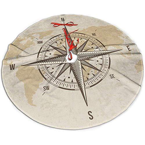 Egoa Boom Rok Nautische Kompas Oude Wereld Kaart Een Fijne Decoratieve Vakantie Kerstboom Rok Boom Rok Xmas Boom Rok 91cm