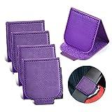 Velcro Car Seat Belt Adjuster, 4 Pack Premium PU Leather Seatbelt Clip for Vehicle Automobile Safety Comfort Universal Shoulder Neck Strap Positioner for Adults Kids Children Toddler (Purple)