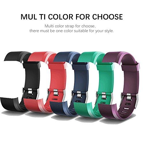 AITOO ID115 Plus - Correa de repuesto de TPU para reloj de pulsera de actividad física ID115 Plus HR Pulseras, 5 colores – negro/azul/púrpura/verde/rosa