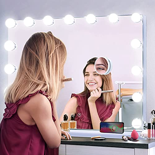 Kottova Vanity Mirror with 15 Dimmable LED Bulbs,Makeup Mirror with 3 Color Lights,USB Charging Port,Large Hollywood Lighted Plug in Mirror with Lights ,Detachable 10x Magnification,Touch Control