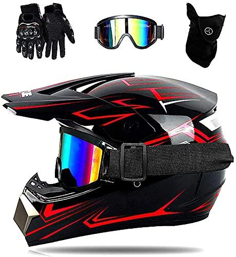 hongweifd Combo, casco de motocross unisex para niños, juego de casco todoterreno, incluye guantes + gafas + protector facial, aprobado por DOT (rojo, XL)
