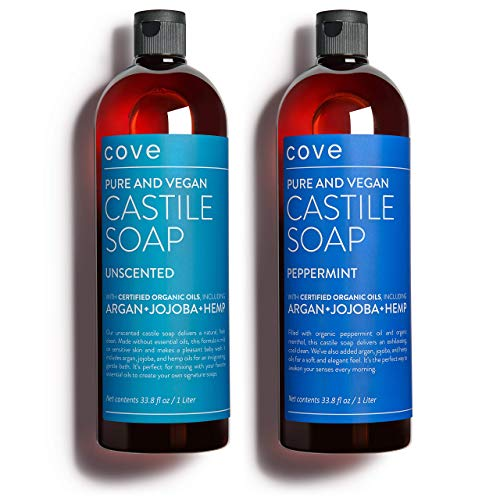 Cove Castile Soap Unscented & Peppermint - 2x 1 Liter / 33.8 oz Bundle...