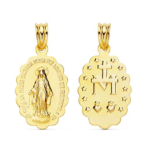 Colgante Medalla Virgen Milagrosa Oro Amarillo 18 Kilates 23 mm